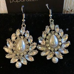 Classic White Pearl & Rhinestone Earrings